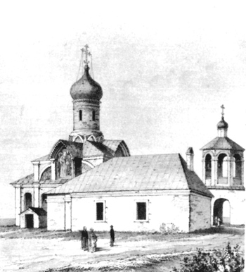 The Church of the Annunciation in the Old Vagankovo. Lithography AA Martynov and im Snegireva.