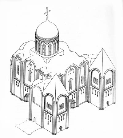 The Cathedral of the assumption of 1158-1160. Reconstruction Voronin. Axonometric view.