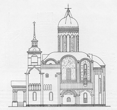 St. Demetrius cathedral in 1830. Drawing by F. Richter.