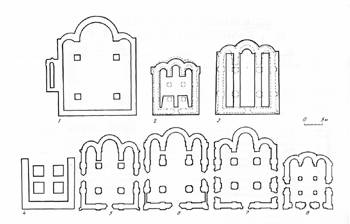 Fig. 14. Plans of Galician and Suzdal churches (by O.M. Ioannisian):