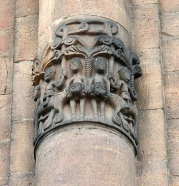 Cathedral in Speyer. Zooanthropomorphous bas-relief on the altar pilaster.