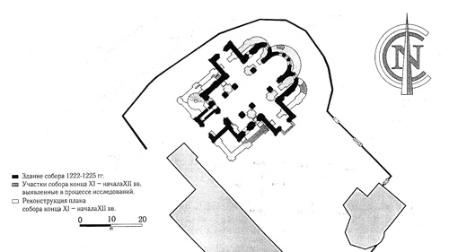 Combined plans for Monomakh's cathedral and the temple of 1222-1225 (by P.L. Zykov).