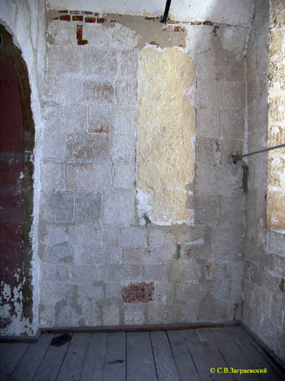 Western part of the southern wall of the Church of Boris and Gleb. View from the choir.