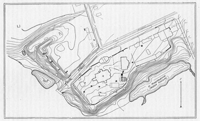Plan of the ancient part of the modern town of Bogolyubovo (by N.N. Voronin).