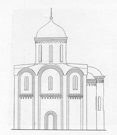 The Church of Boris and Gleb in Kideksha. Original appearance. Reconstruction Y. Y. Savitsky and N. And. Egorova.
