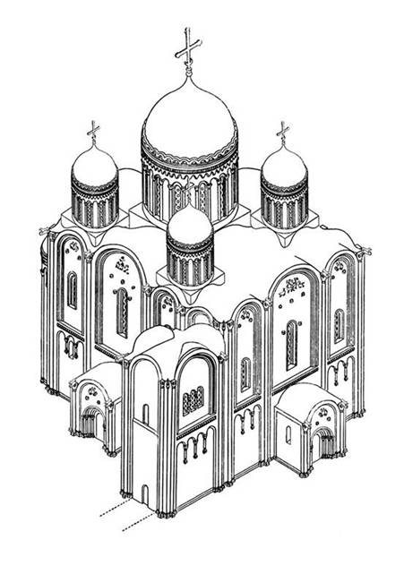 Assumption Cathedral in Vladimir. Original appearance. Reconstruction of the author