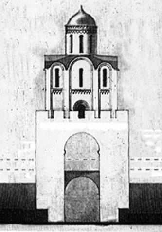 Golden gate in Vladimir. Original appearance. Reconstruction of the author