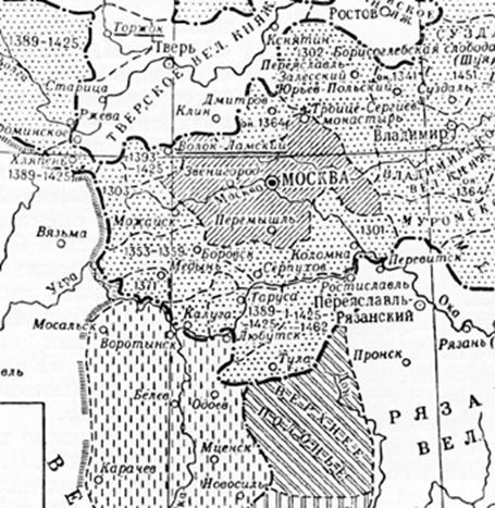 Map transfer of land under the authority of Moscow, contained in the Small Soviet Encyclopedia