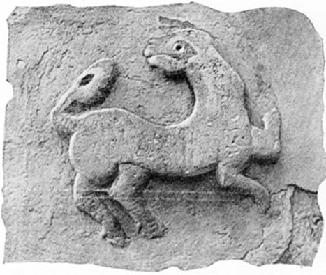 "Retouched image zoomorphic relief on ""Gorodische"" Church, given N.N. Voronin."