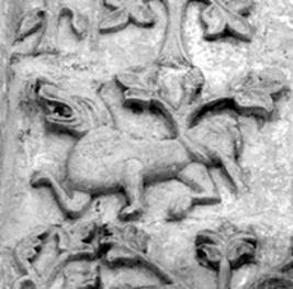Zoomorphic reliefs on the walls of St. Demetrius Cathedral in Vladimir