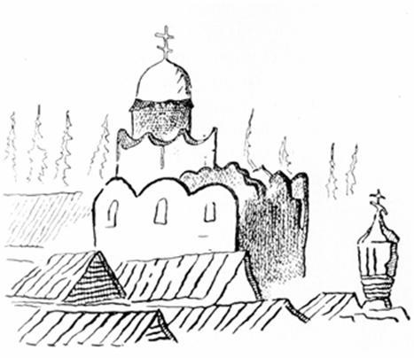 The Church of the Nativity of the virgin in Gorodnya. Figure A. Meyerberg.