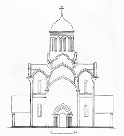 Assumption Cathedral 1326-1327 years in Moscow. Reconstruction Voronin.